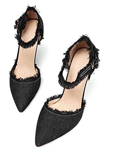 Talon Haut Femme Noir Aiguille Mode Escarpins Jean Aisun UwzqPP