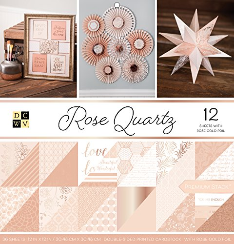 - American Crafts 12 x 12 Inch Quartz Rose Gold Foil Double Sided 36 Sheets Die Cuts with a View Stacks, 12