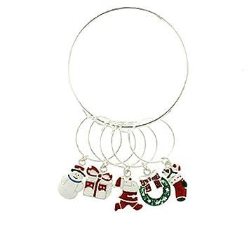 wine charms christmas holiday wine glass charms set of 6 christmas wine charm 082f - Christmas Wine Charms