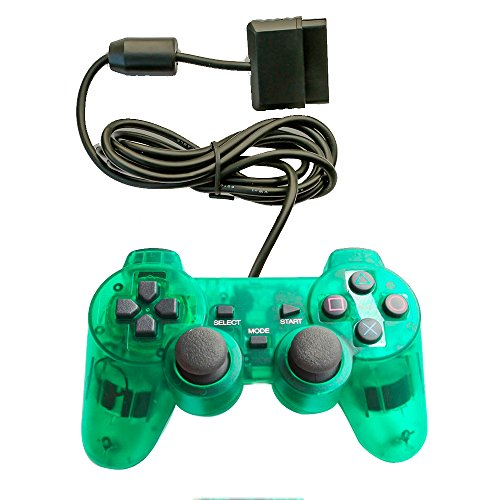 Saloke Wired Gaming Controller for Ps2 Double Shock (Clear Green)