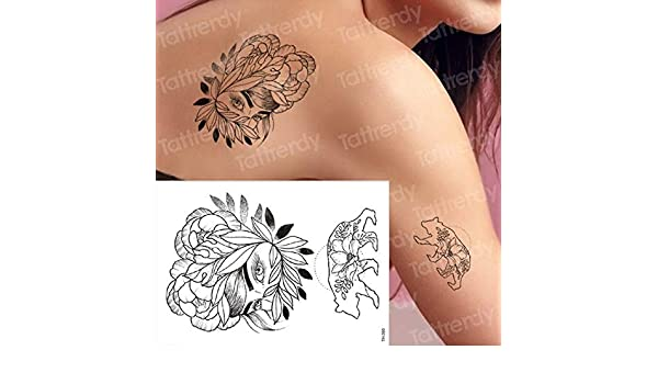 3Pcs-Black Rose Tattoo Tatuaje Impermeable Pegatina Flor de peonía ...