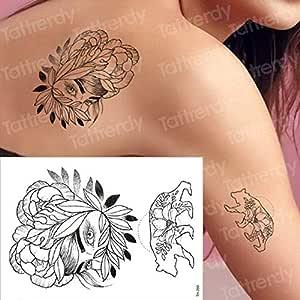 Handaxian 3 unids Imperio Tatuaje Negro Flor Tatuaje 3 unids-15 ...