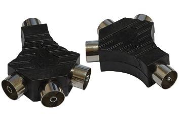 AERZETIX: 2 x Conectores con 1 macho y 3 hembra salidas para cable coaxial de
