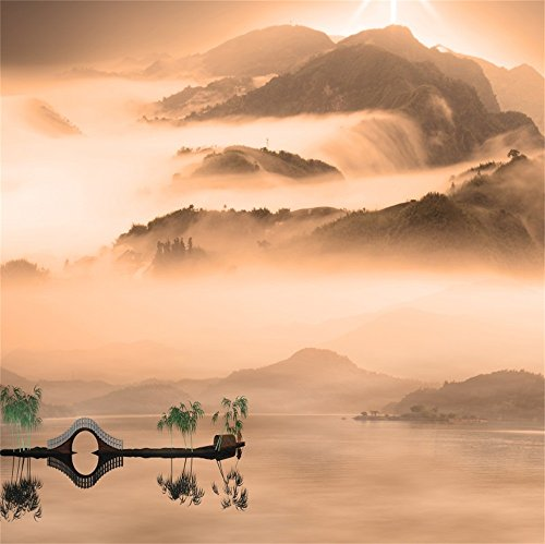 LFEEY 5x5ft Chinese Nature Landscape Painting Backdrop Beautiful Sunset Fisherman Bridge Graphic Mountains and Rivers Photo Background Studio Props