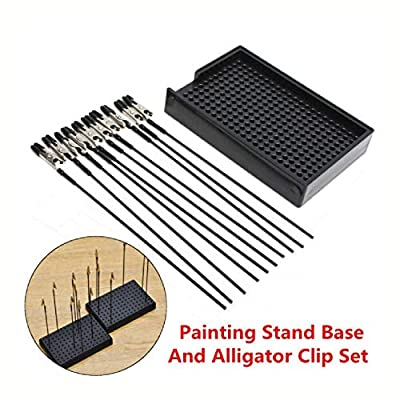 HomyDelight Industrial Hardware, Black Painting Stand Base with 10Pcs Alligator Clips Model Spraying Modeling Tools