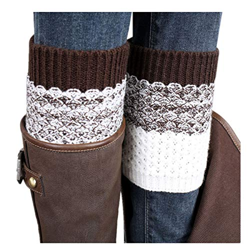 PASATO Womens Grils Short Boots Knitted Socks Short Women Crochet Boot Cuffs Winter Leg Warmers Topper Cuff(Brown,free size) -