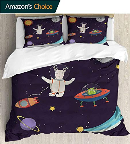 Home 3 Piece Print Quilt Set,Box Stitched,Soft,Breathable,Hypoallergenic,Fade Resistant Patterned Technique King Quilt Set-Explore Astronaut Deer in Space (90