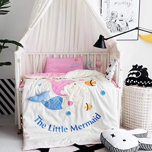 漫画の小さな女の子人魚女の子子供シングル布団掛け布団カバー子供寝具セット、布団カバー (Size : M) B07PQHFDJ9