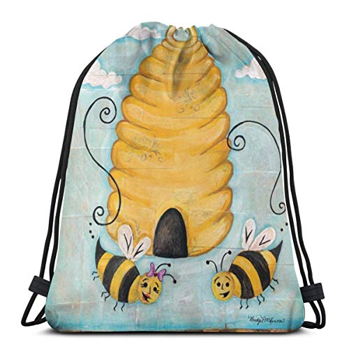OWZI Bee Happy Cute Bee Hive Garden Banner Classic Portable Drawstring Backpack,14.2