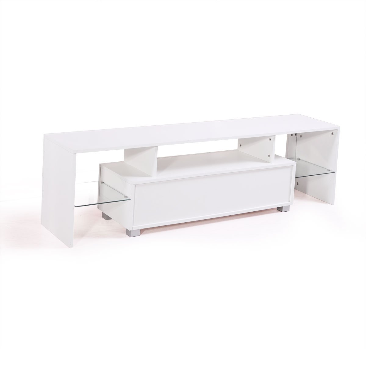 thegreatshopman Modern White 63'' TV Stand Cabinet Console w/LED Light Shelves by thegreatshopman