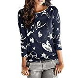 TOPUNDER 2018 Women's Long Sleeve Tops Letter Printed Shirt Casual Blouse Loose Cotton T-Shirt by