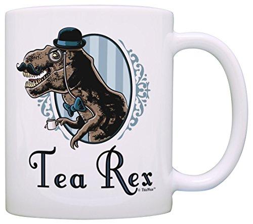 Tea Rex Mug Funny T-Rex Gentleman Tyranosaurus with Monocle Mustache Gift Coffee Mug Tea Cup White
