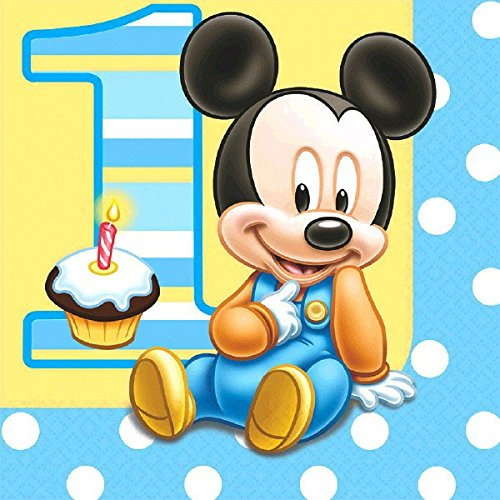 16 Count Mickey's 1st Birthday Lunch Napkins, (1st Birthday Lunch Napkins)
