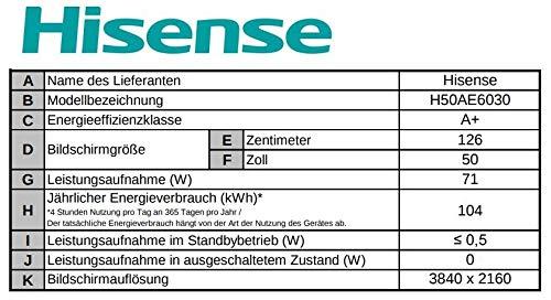 Hisense H50ae6030 4k Uhd Tv 126 Cm 50 Zoll Led Fernseher Ultra Hd