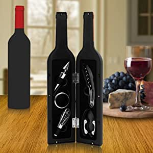 ArchStone Collections Premium Wine Bottle Gift Set - Opener, Stopper, Drip Ring, Foil Cutter & Pourer