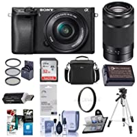 Sony Alpha a6300 Mirrorless Digital Camera Body with 16-50mm E-Mount Lens & Sony 55-210mm f/4.5-6.3 OSS - Bundle With 32GB Class 10 SDHC Card, Camera Case, Spare Battery, Software Package and More