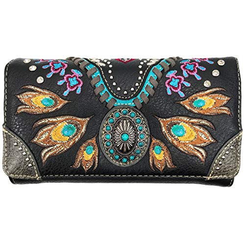 Zelris Turquoise Concho Peacock Feather Women Crossbody Wrist Trifold Wallet (Black)
