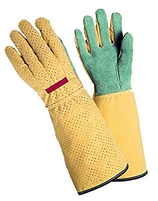 Magid G190T Simply Pastel Women's Rose Glove, Leather Palm, Long Cuff, Medium
