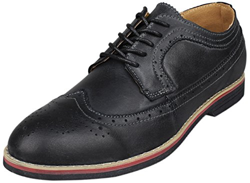 Wing Tip Oxford Lace (PhiFA Men's Distressed Genuine Leather Wingtips Oxfords Lace-UPS US Size 12 Black)