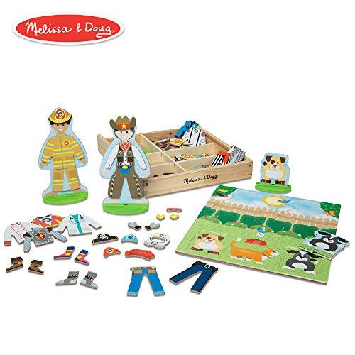 Melissa & Doug Occupations Magnetic Dress-Up Wooden Dolls Pretend Play Set (73 - Doll Magnetic Set