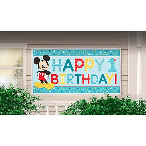 Mickey Mouse 1st Birthday FBA_BB120247 Banner (Mickey Mouse Party Supplies 1st)