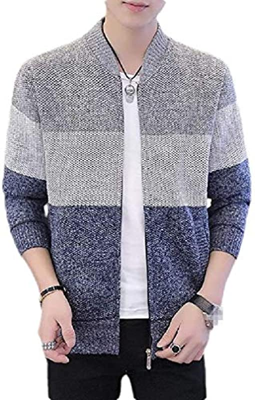 Men Open Front Slim Fit Stand Collar Knit Contrast Color Cardigan: Odzież