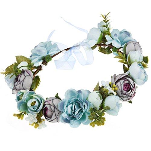 DDazzling Flower Crown Wreath Floral Headband Maternity Photos Bridal Wedding Headpiece Flower Girl Crown (A-Blue Purple Blackish Green) -