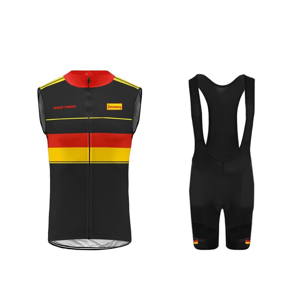 Bib Pantaloncini Corti Body Grandi Regali HI2019VJ04 Uglyfrog Completo Set Maglia Senza Maniche Ciclismo Estivo per Uomo alla Moda Gilet da Corsa