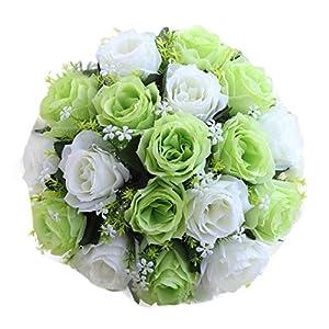 Han Shi Bridal Bouquet, Artificial Silk Roses Flowers Home Wedding Decor 18 Head Floral (S, H) 118