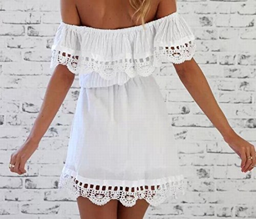 Maniche Sole Solido Il Increspato Da Coolred Comfort Vestito Del Spiaggia Donne Bianco Di gP0YW5qXW