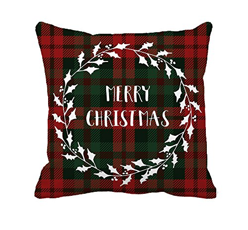 Red Black Plaids Merry Christmas Throw Pillow Case Cushion Cover Decorative 18 x 18 Inch (Christmas Merry Pillow)