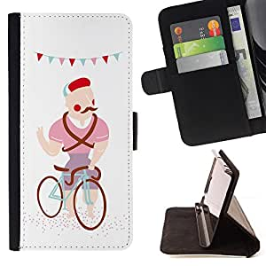 DEVIL CASE - FOR Apple Iphone 4 / 4S - Moustache Hipster Caricature Drawing Colorful - Style PU Leather Case Wallet Flip Stand Flap Closure Cover