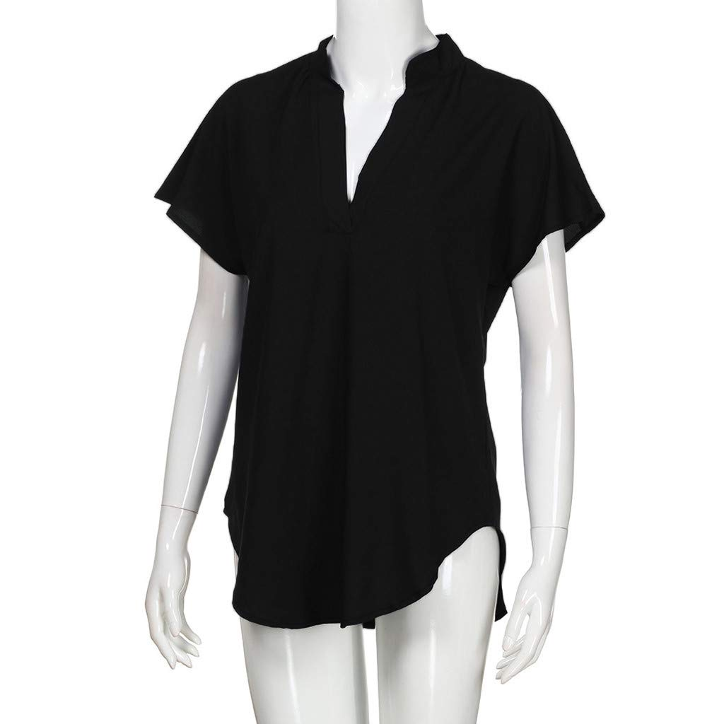 KYLEON Tops for Women Chiffon Solid Short Sleeve Basic T-Shirt Casual Ladies Summer Shirt Blouse Loose Fit Solid Color Tee