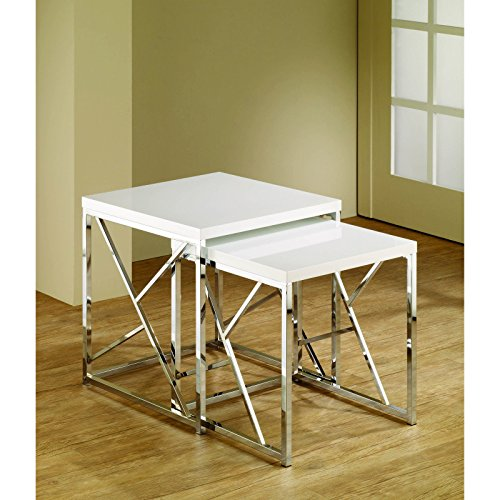 Metro Shop White Chrome Finish Nesting End Tables