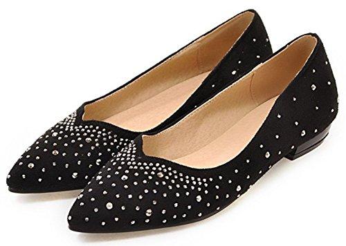 Sfnld Damesschitterende Slip Op Platte Schoenen Zwart