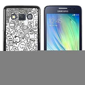 rígido protector delgado Shell Prima Delgada Casa Carcasa Funda Case Bandera Cover Armor para Samsung Galaxy A3 SM-A300 -Happy Cartoon Animals Creatures Monsters-