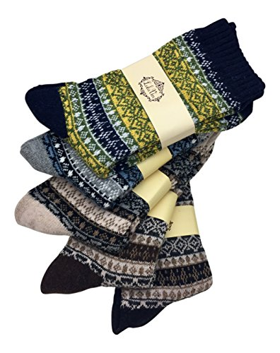 LuluVin Women's Vintage Style Casual Knit Crew Socks - 5 Pairs (Multicolored)