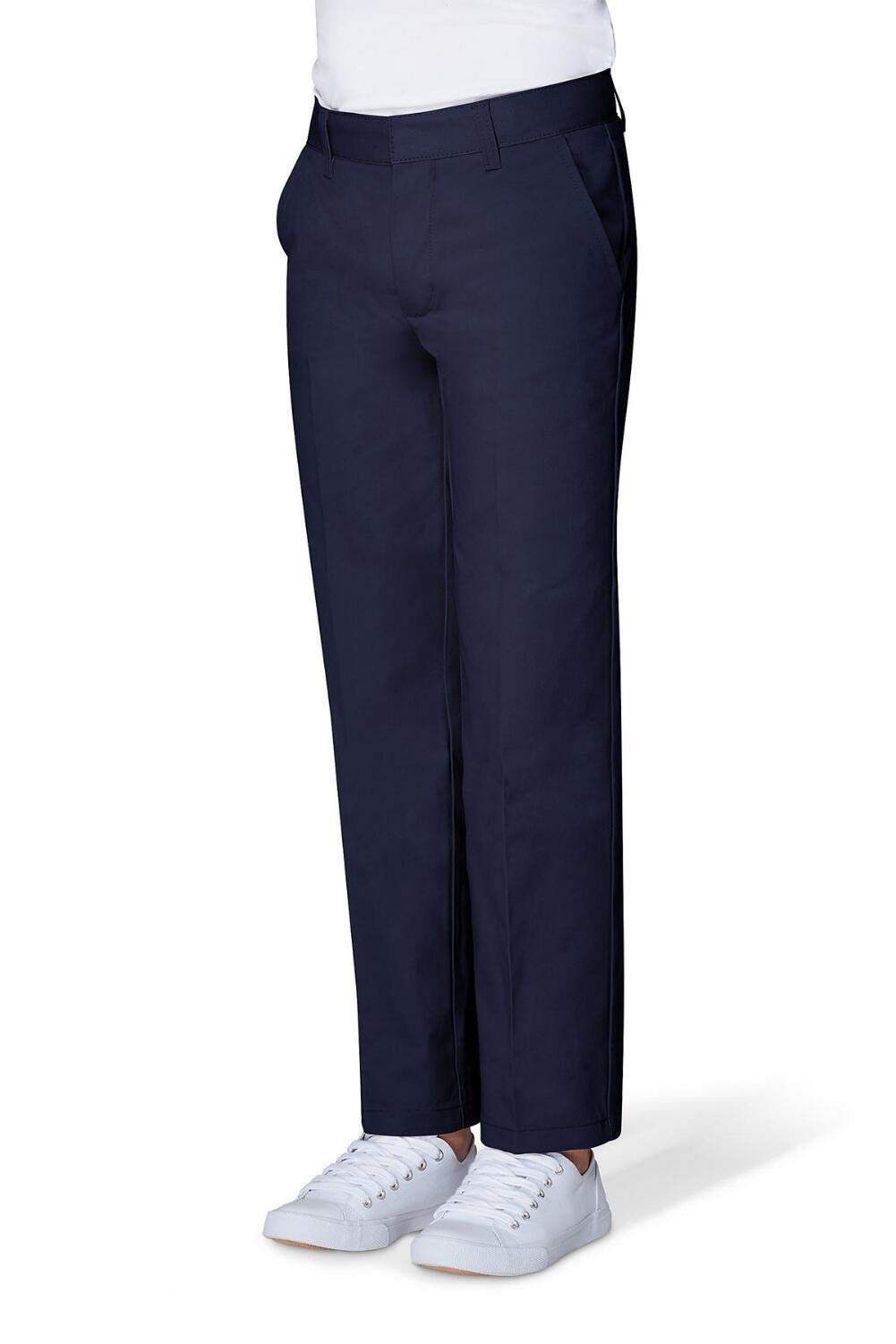 French Toast Big Boys' Flat Front Double Knee Pant with Adjacent Waist, Navy, 8
