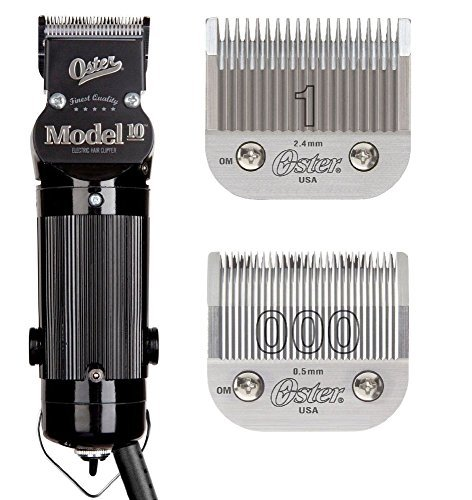 Oster Model 10 Professional Hair Clippers with Exclusive Break Resistant Housing, Comes with #000 Blade and BONUS FREE #1 Blade (Oster Model 10 Clipper)