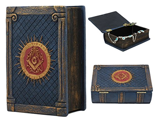 Ebros Small Masonic Secret Book Box Freemasonry Square and Compasses Ritual Morality Blue Small Hinged Book Jewelry Box Freemasons Storage Decor