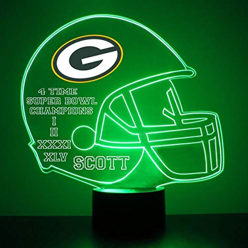 Mirror Magic Store Green Bay Packers Football Helmet LED Night Light with Free Personalization - Night Lamp - Table Lamp - Featuring Licensed Decal