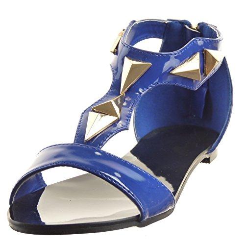 Sopily - Chaussure Mode Sandale Ouverte Salomés hauteur cheville femmes Brillant verni clouté Talon bloc 1 CM - Bleu