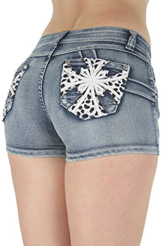 F2L-35057SH - Colombian Design, Butt Lift, Levanta Cola, Short Shorts in Washed Blue Size 1 (Butt Lifting Shorts)