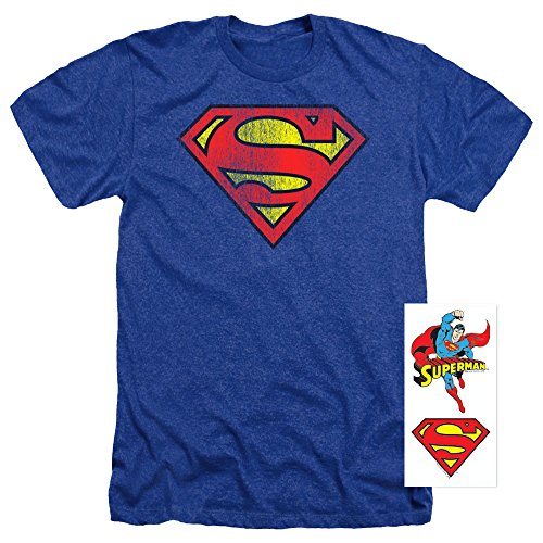 Superman Classic Logo Distressed Heather T-Shirt & Exclusive Stickers (XX-Large) (Super Logo Graphic Tee)