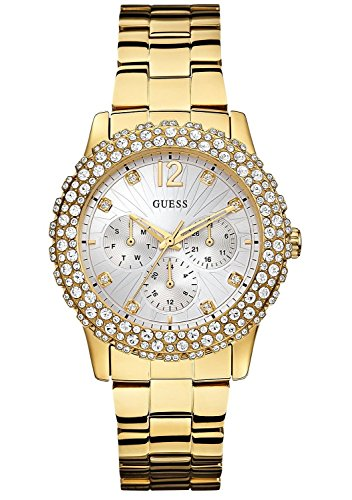 GUESS Women's W0335L2 Gold-Tone Multi-Function Watch Genuine Crystal Accented Case