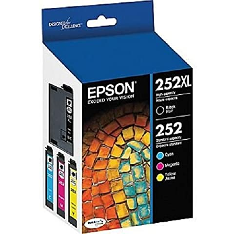 Epson T252XL-BCS Combo Pack, Black High Capacity and C/M/Y Standard Capacity Cartridges (Epson Ink For Wf3620)