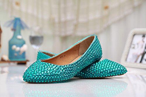 Prom Handmade Crystal party ballerine moda Green Evening MZLL030 Minitoo satin nbsp;donna wedding confortevole ZzaywqU6