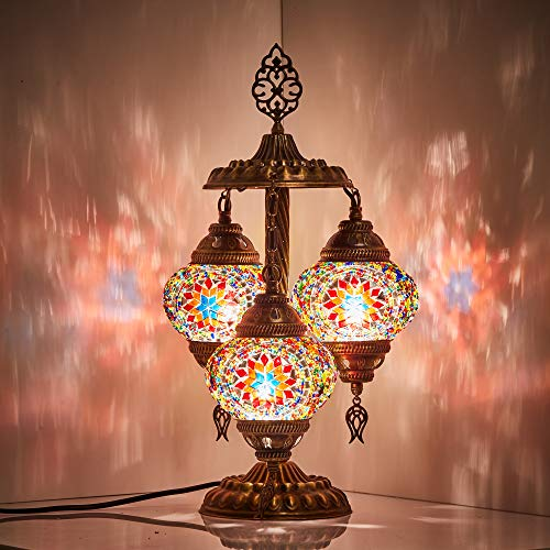 DEMMEX 2019 Stunning 3 Globe Turkish Moroccan Bohemian Table Desk Bedside Night Lamp Light Lampshade with North American Plug & Socket, 19 Inches (Space Fire)