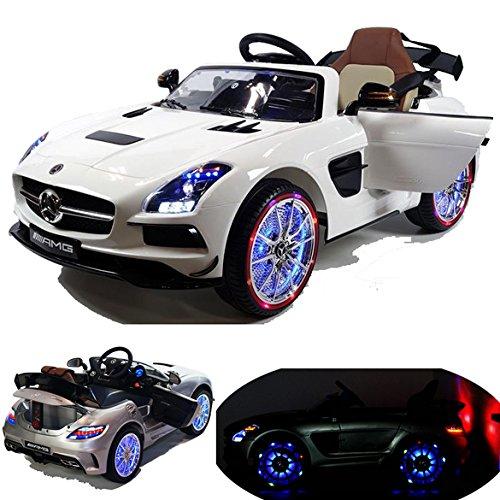 Mercedes-Benz SLS AMG viele LED Effekte Soft Start Kinderauto Kinderfahrzeug Kinder Elektroauto -weiss-