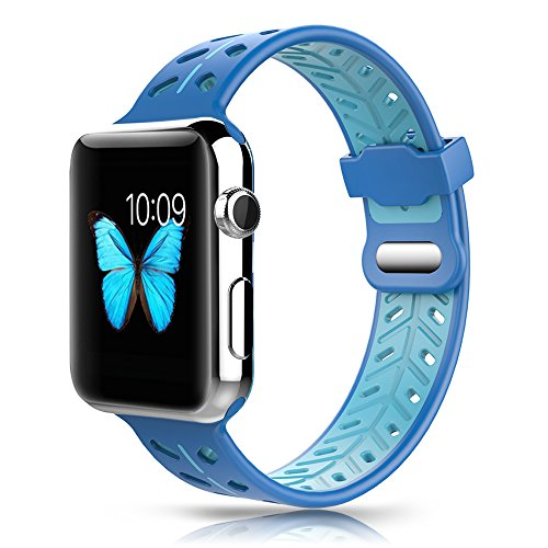 YOUKEX Apple Watch Band 42mm, Soft Silicone Replacement Strap Wristband with Oval Ventilation Holes Double Clasp for iWatch Series 3 Series 1 Series 2 Nike+ Edition Women Men (Gamma Blue)